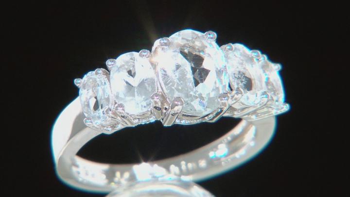 Blue Aquamarine Rhodium Over Silver Ring 2.81ctw