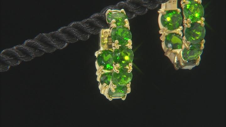 Green Chrome Diopside 18k Gold Over Silver Inside/Outside Hoop Earrings 8.68ctw