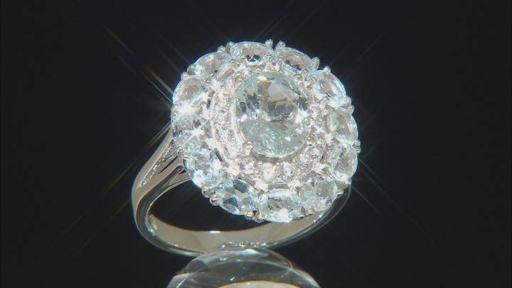Blue Aquamarine Rhodium Over Silver Ring 4.17ctw