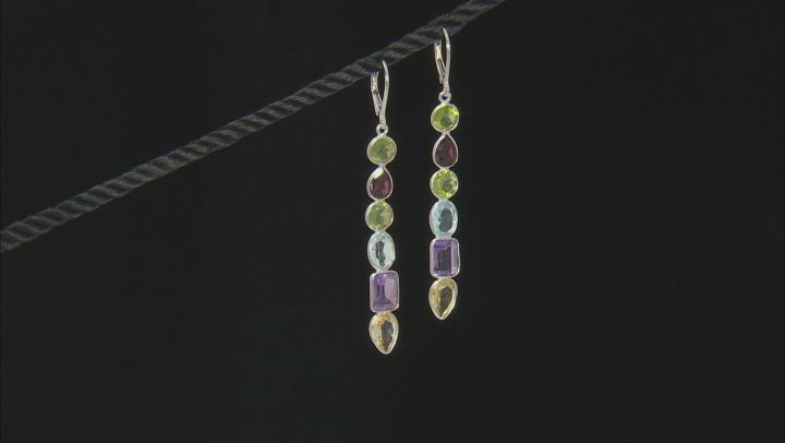 Multi-Gem Rhodium Over Silver Dangle Earrings 12.40ctw