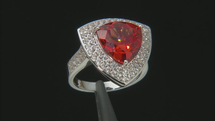 Orange Lab Created Padparadscha Sapphire Rhodium Over Silver Ring 6.87ctw