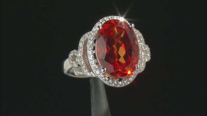 Orange Lab Created Padparadscha Sapphire Rhodium Over Silver Ring 7.85ctw