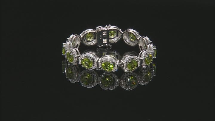 Green Peridot Rhodium Over Sterling Silver Bracelet 22.97ctw