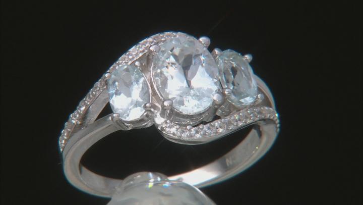Blue Aquamarine Rhodium Over Silver Ring 2.51ctw