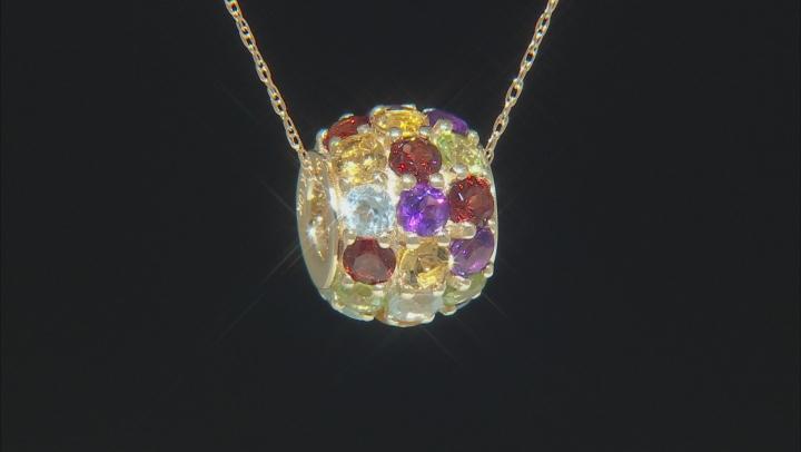 Multi-Gemstone 10k Yellow Gold Pendant with Chain 3.00ctw