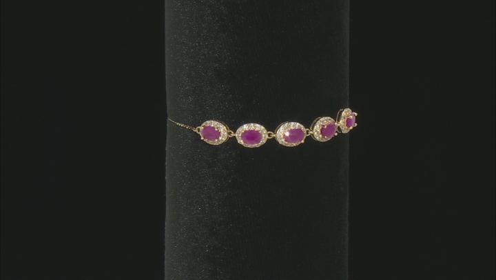 Red Burma Ruby Bracelet 10k Yellow Gold Bracelet 3.51ctw