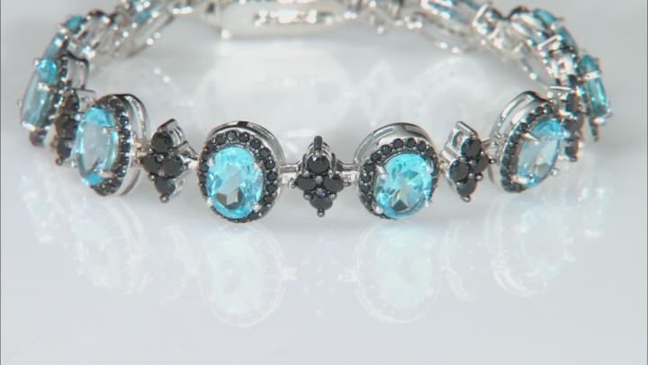 Swiss Blue Topaz Rhodium Over Sterling Silver Bracelet 17.15ctw