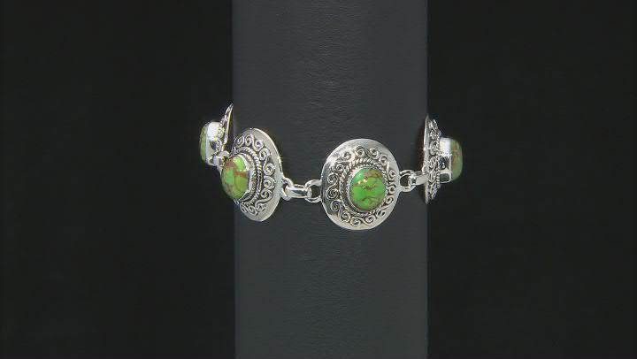 Green Turquoise Sterling Silver Station Bracelet