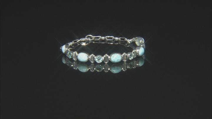 Blue Larimar Sterling Silver Station Bracelet 14.50ctw