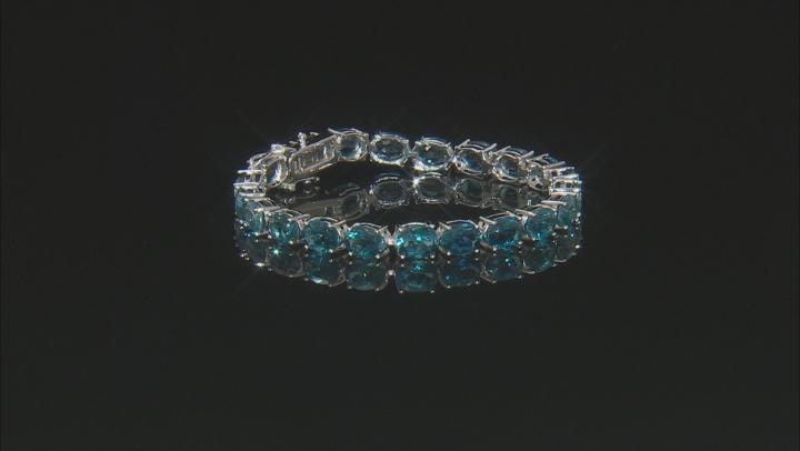 London Blue Topaz Rhodium Over Silver Tennis Bracelet 27.00ctw