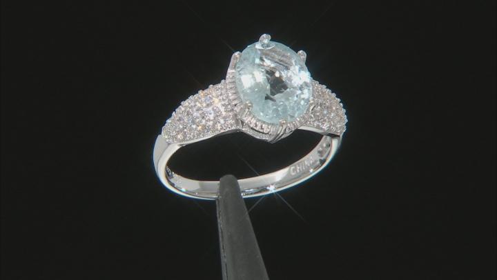 Aquamarine Rhodium Over Sterling Silver Ring 2.63ctw