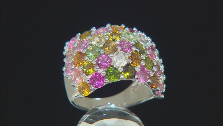 Multi-Tourmaline Rhodium Over Silver Ring 5.85ctw