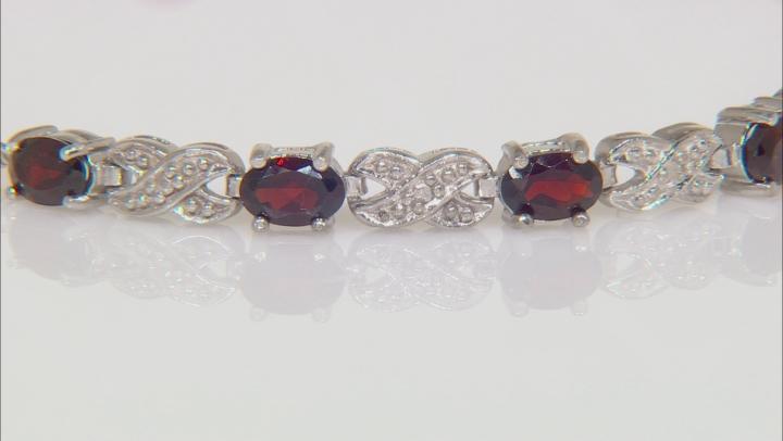 Red Garnet Rhodium Over Sterling Silver Sliding Adjustable Bracelet 3.00ctw