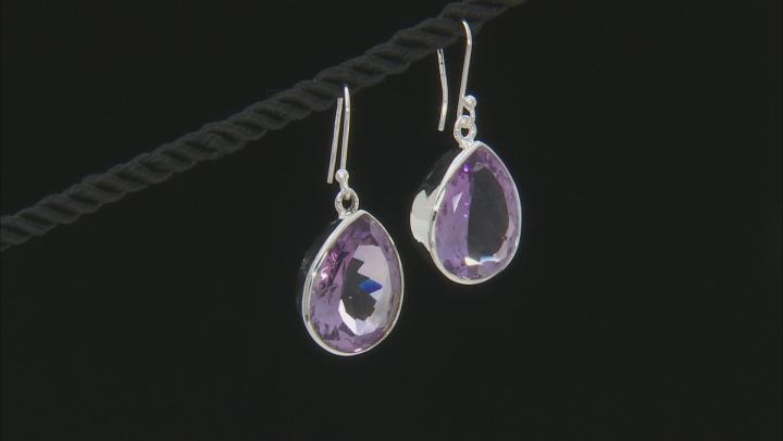Purple Brazilian Amethyst Silver Earrings 22.00ctw