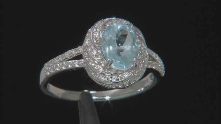 Blue Aquamarine Rhodium Over Silver Ring 2.55ctw