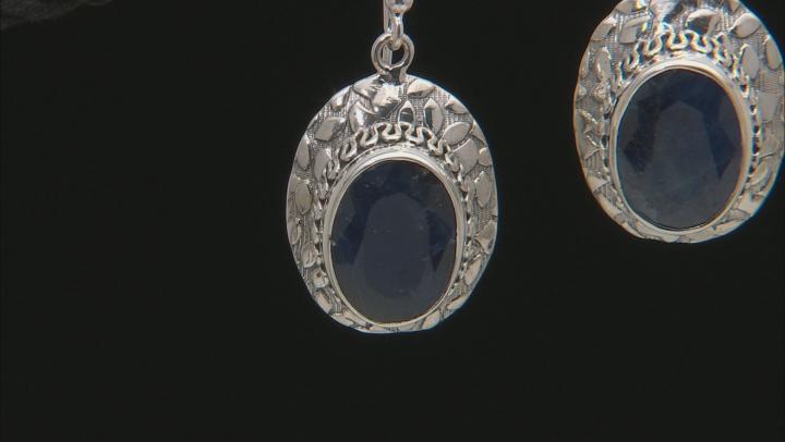 Blue Sapphire Solitaire Silver Dangle Earrings 12.50ctw