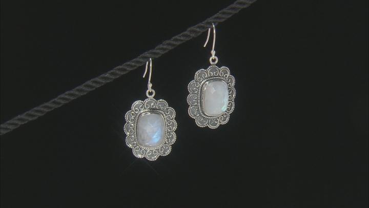 Moonstone Sterling Silver Dangle Earrings 21ctw