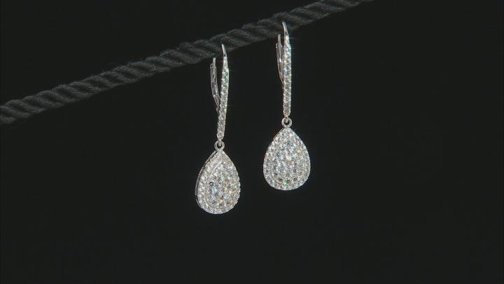 White Zircon Rhodium Over Sterling Silver Earrings 2.10ctw