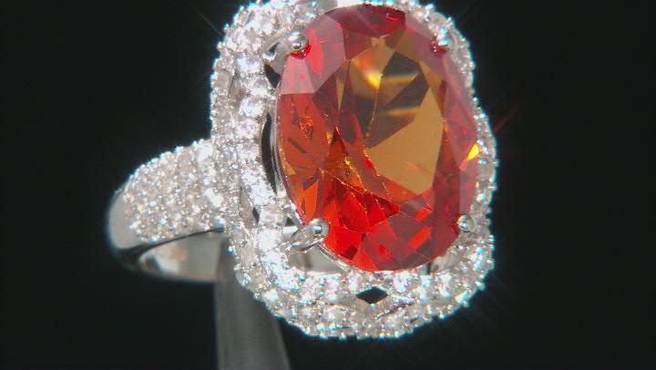 Orange Lab Created Padparadscha Sapphire Rhodium Over Silver Ring 11.8ctw