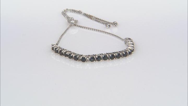 Blue Sapphire Rhodium Over Sterling Silver Adjustable Bracelet 2.16ctw