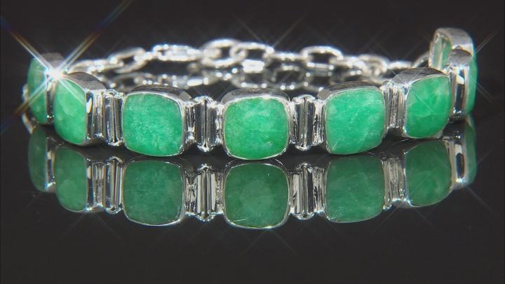 Green Beryl Sterling Silver Station Bracelet