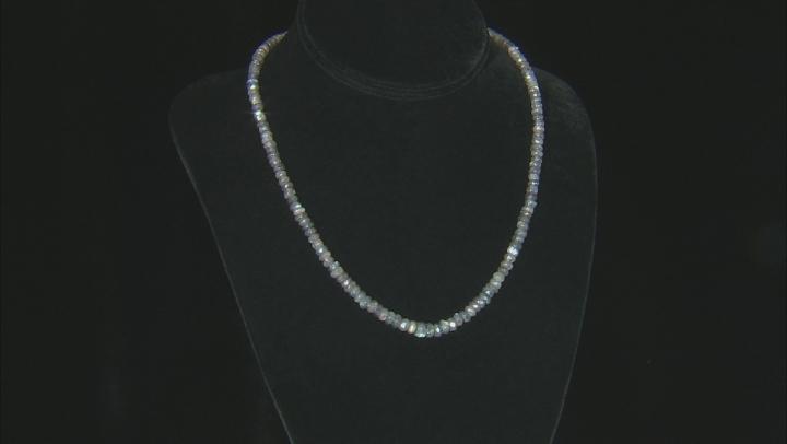 Gray Labradorite Bead Sterling Silver Necklace 87ctw