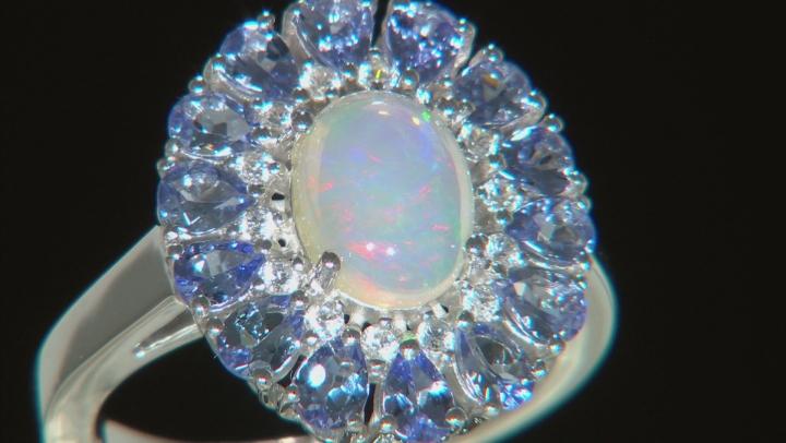 Ethiopian Opal Rhodium Over Silver Ring 3.76ctw