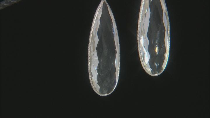 Crystal Quartz Rhodium Over Silver Dangle Earrings 40.00ctw