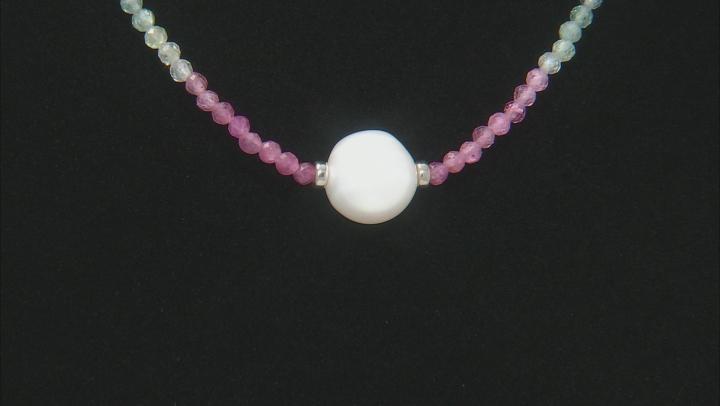 Multi-Tourmaline Bead Rhodium Over Silver Necklace 16.00ctw