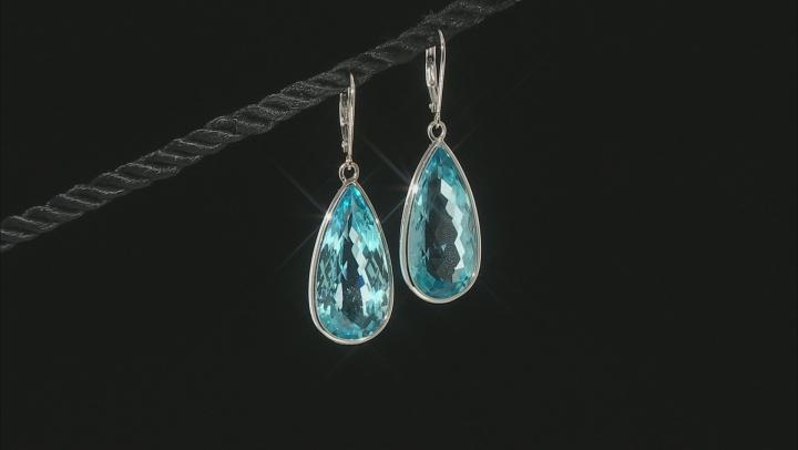 Blue Topaz Rhodium Over Silver Dangle Earrings 34.00ctw