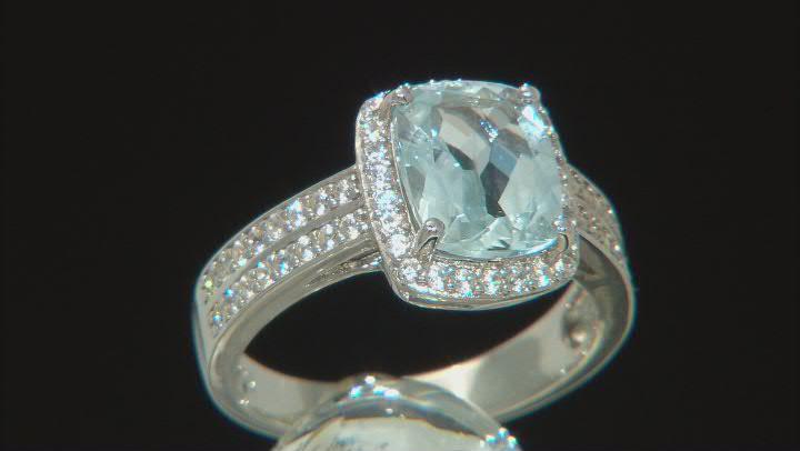 Aquamarine Rhodium Over Sterling Silver Ring 3.07ctw