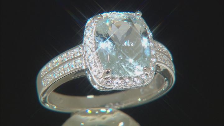 Aquamarine Rhodium Over Sterling Silver Ring 3.1ctw