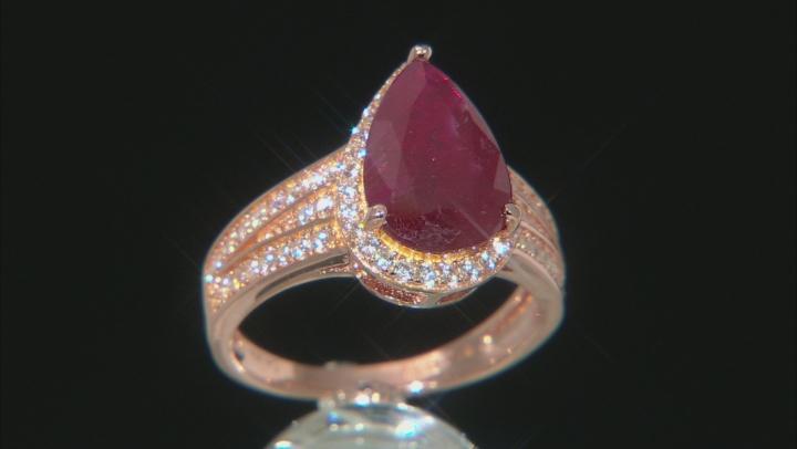 Mahaleo(R) Ruby 18K Rose Gold Over Silver Center Design Ring 4.9ctw