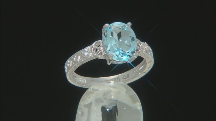 Sky Blue Topaz Rhodium Over Silver Ring 3.04ctw
