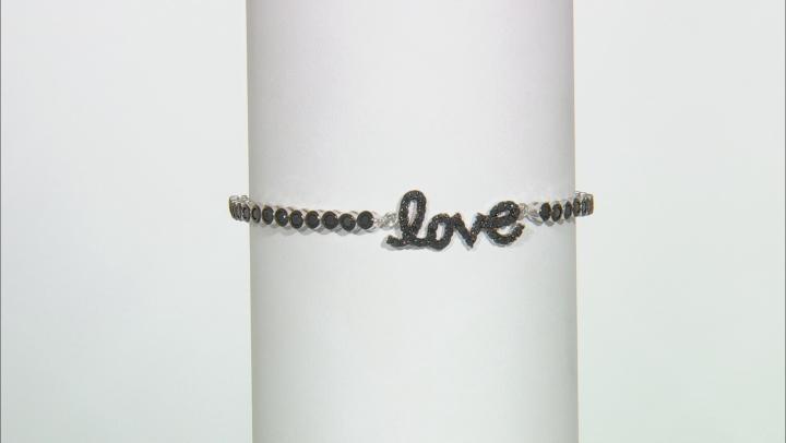 Black Spinel Rhodium Over Sterling Silver Adjustable  Bracelet 1.54ctw