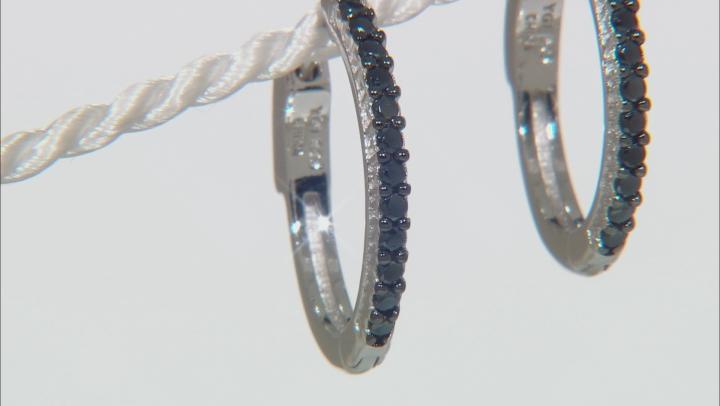 Black Spinel Rhodium Over Sterling Silver Hoop Earrings 0.48ctw