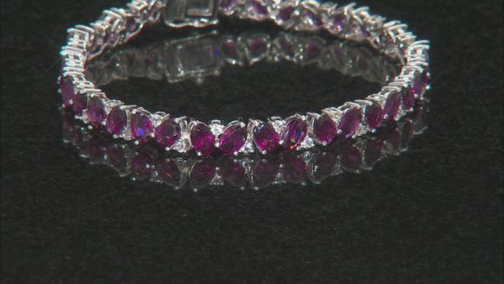 Purple Rhodolite Rhodium Over Sterling Silver Bracelet 19.52ctw