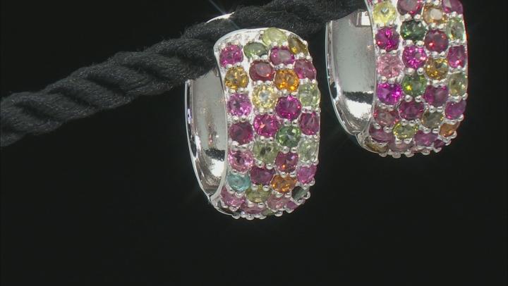 Multi Tourmaline Rhodium Over Sterling Silver hoop Earrings 3.50ctw