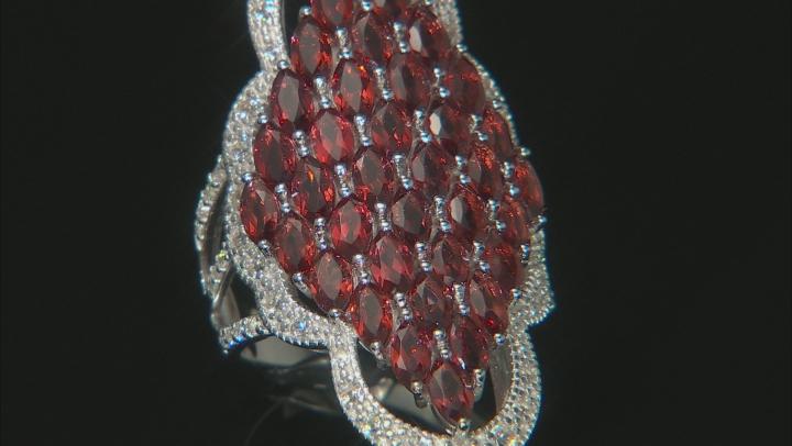 Garnet Rhodium Over Sterling Silver Ring 6.4ctw