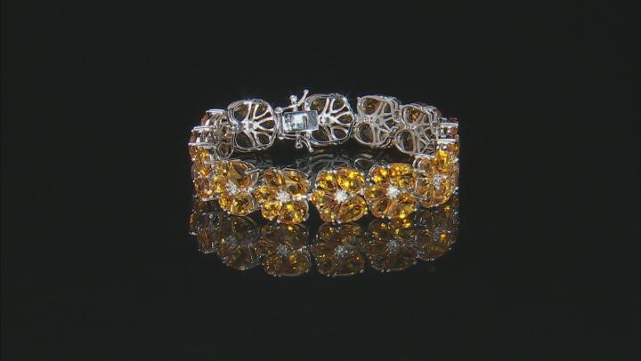 Yellow Citrine Rhodium Over Rhodium Over Sterling Silver Bracelet 40ctw