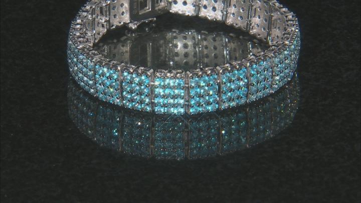 Blue Topaz Rhodium Over Sterling Silver Bracelet 12.00ctw