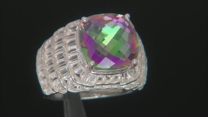 Mystic Quartz Rhodium Over Sterling Silver Ring 7.00ctw