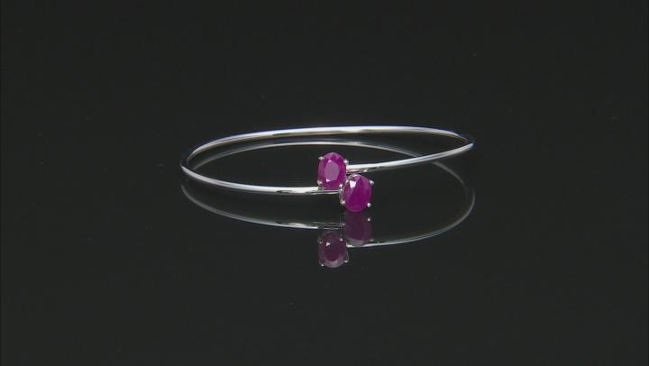 Burma Ruby Rhodium Over Sterling Silver Cuff Bracelet 2.75ctw