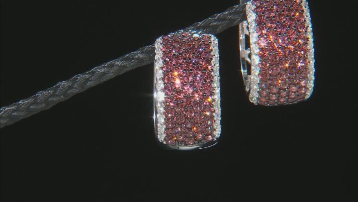 Garnet Rhodium Over Sterling Silver hoop Earrings 3.50ctw