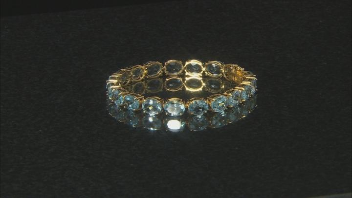 Blue Topaz 18K Yellow Gold Over Sterling Silver Line Bracelet  44.00 Ctw