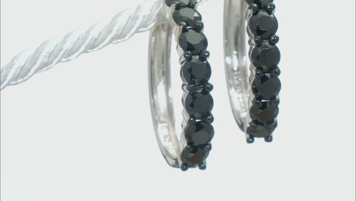 Black Spinel Rhodium Over Sterling Silver Hoop Earrings 4.30ctw