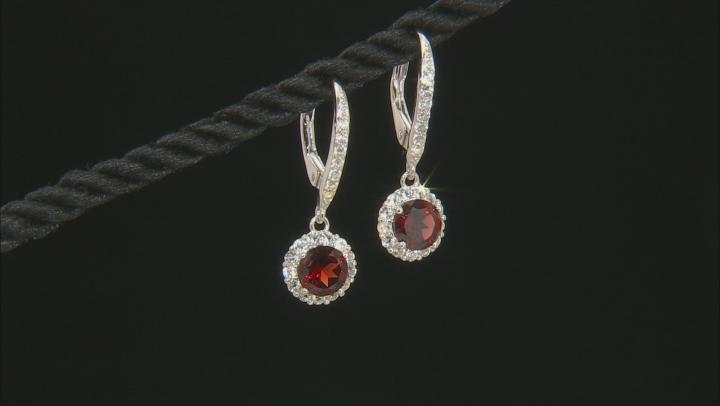 Garnet Sterling Silver Earrings 2.63ctw