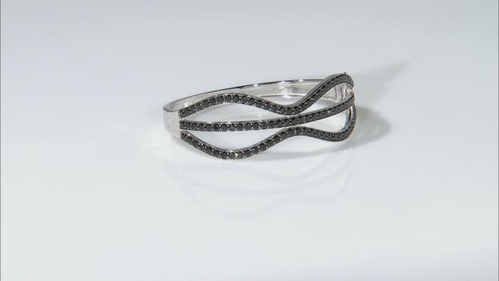 Black Spinel Sterling Silver Hinged Bangle Bracelet 8.41ctw