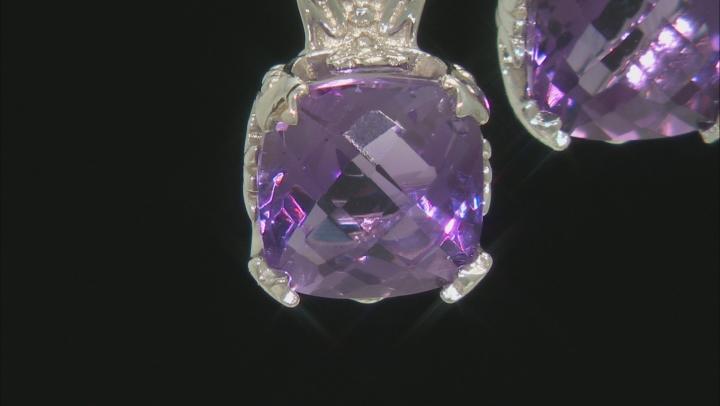 Purple Brazilian Amethyst Rhodium Over Sterling Silver Dangle Earrings 4.00ctw
