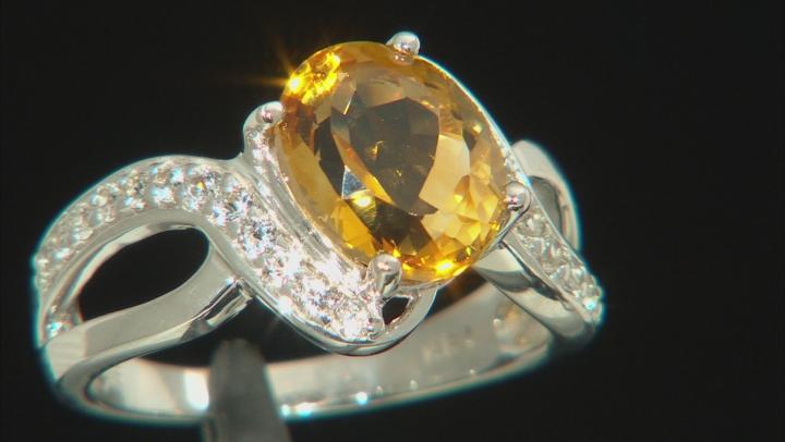 Yellow Brazilian Citrine Rhodium Over Sterling Silver Ring 3.12ctw